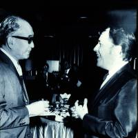 In on the joke: Richie with the great film director Akira Kurosawa