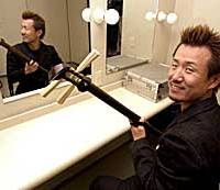 In contrast to his forbidding  stage persona, Kinoshita becomes his amiable self in the dressing room.