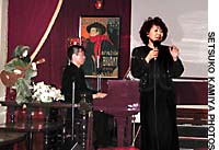 Toshiko Yamagishi on stage at La Belle Epoque (above); the Satomi Kawakami Trio at Sometime.