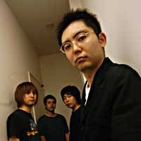 Shutoku Mukai (right), formerly the frontman of Number Girl, with the members of his new band, Zazen Boys