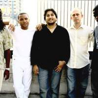 Gonzalo Rubalcaba (second from left) and his quintet