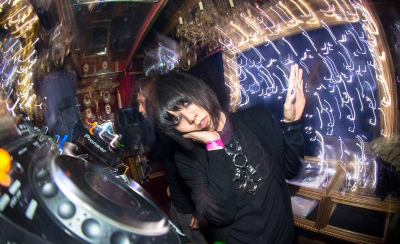 Plasticzooms leader Sho Asakawa hits the decks for Tokyo Indie at Trump Room in Shibuya, Tokyo, on Friday.