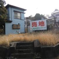 Unwanted: A corner lot for sale is overgrown with grass and weeds in Sakura, Chiba Prefecture. | PHILIP BRASOR