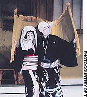 The father-and-son team of Takataro (left) and Nizaemon Kataoka play the doomed lovers Umegawa and Chubei in 'Ninokuchi Mura' at Tokyo's Kabukiza.