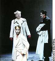 In 'Richard II' Michael Maertens (kneeling) plays Richard II, with Martin Seifert as the Bishop of Carlisle and Markus Meyer as Aumerle.