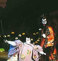 Christmas at the Kabukiza features Bando Tamasaburo as an ogress and Ichikawa Ennosuke as Taira no Koremochi (above). Ennosuke also stars as Minamoto no Tametomo (below) in 'Chinsetsu Yumiharizuki,' written and first directed by Yukio Mishima in 1969. The poster for that production (bottom) was designed by Tadanori Yokoo. | PHOTOS COURTESY OF THE KABUKIZA