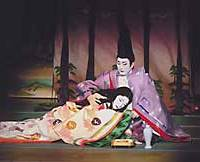 Bando Tamasaburo and Kataoka Nizaemon double up as the betrothed Ukifune and Prince Kaoru  in 'Ukifune' (above), adapted from 'The Tale of Genji,' and lovers Otomi and Yosaburo in 'Yowanasake Ukina no Yokogushi.'