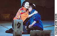Fuji (Takako Matsu) and her reluctant kamikaze brother, Yamato (Tatsuya Fujiwara), are the center of a swirl of myth and history in Hideyuki Noda's new play 'Oil.'