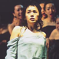 Shinobu Otake (above and below) commands the stage as Electra who, with her brother Orestes, played by Junichi Okada (below), do to death their murderous mother.