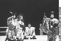 Kyogen superstar Mansai Nomura (far left) and his father Mansaku share a pair of trousers to dance with Yukio Ishida in 'Futaribakama'