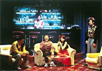 The host club in 'Donju' by Kankuro Kodo. Left to right, Okamoto (Katsuhisa Namase), Dekogawa (Narushi Ikeda), Nora (Otoha), Eda (Arata Furuta). Behind the counter is Junko (Maho Nonami). | PHOTOS COURTESY OF PARCO THEATER