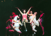 Andrea McArdle as Sally Bowles surrounded by members of 'Cabaret' (top), and Daisuke Yanase as Jesus in 'Jesus Christ Superstar' | PHOTOS COURTESY OF KYODO TOKYO AND SHIKI THEATER COMPANY