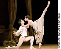Darcey Bussell as Manon and Roberto Bolle as Des Grieux (above) and Darcey Bussell as Manon and Christopher Saunders as Monsieur GM, Elizabeth McGorian as Madam.