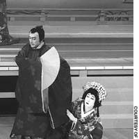Nizaemon XV (top) currently stars at the Kabukiza as Sagawara Michizane, the role that made his father Nizaemon XIII famous in 1981.