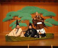The dream of Prince Taro (Nomura Kosaburo, left) depicted in actor Shigeyama Sennojo's new kyogen production 'Yume Cho Monowa' | COURTESY OF THE NATIONAL NOH THEATER