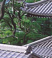 The rooftops of the old temple and shrine quarter of Arima