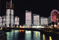 Lights shine off the water at Minato Mirai 21
