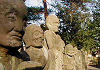 Some of the stone figures known as the 500 Statues of Rakan at Kitain Temple.