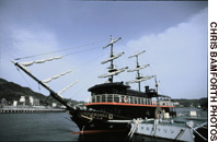The Susquehanna is a quarter-size replica of one of Commodore Matthew Perry's 'Black Ships'; a bust of Perry (below) stands by Shimoda Harbor.