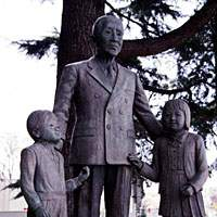 A statue depicts renowned music educator Shin'ichi Suzuki