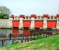 Kita Ward's Akasuimon (Red Sluice Gate) at Iwabuchi
