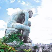 A statue looks over the city on the Asakura Choso rooftop garden; the inner garden at Asakura Choso; swan boats docked at Shinobazu Pond. | KIT NAGAMURA PHOTOS
