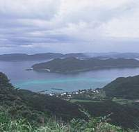Picturesque Kasari Bay in the northeast of Amami-Oshima island; a rare Amami black rabbit; a red hibiscus adds color to the roadsides around Amami-Oshima during the summer.
