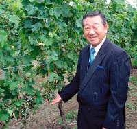 Takahata Winery President Tetsuya Okuyama stands next to some of his company's grapes in Takahata, Yamagata Prefecture. | RICHARD SMART PHOTOS
