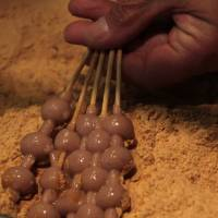 Kibidango (sweet millet dumplings in soy flour) at Kibikoya. | KIT NAGAMURA