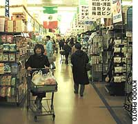 Shoppers browse in the Plant-2 Supercenter in Sakai, Fukui Prefecture, opened by Plant Co. in April 1993.