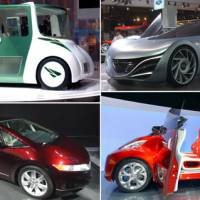Cars on display at the 40th Tokyo Motor Show in Chiba include (clockwise from top left) the Toyota RiN, Mazda Taiki, Nissan R.D/B.X and Honda FCX. | SATOKO KAWASAKI PHOTOS
