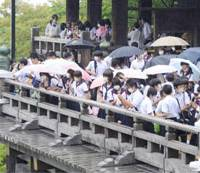 Life goes on: Groups of students wearing masks on Friday visit Kyoto's Kiyomizu Temple, one of the city's most popular spots for school excursions. | KYODO PHOTO