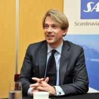 The sky's the limit: Eivind Roald, executive vice president of sales and marketing at Scandinavian Airlines System, is interviewed Thursday. | YOSHIAKI MIURA