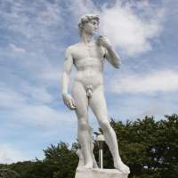 Of contention: A 5-meter-tall replica of Michelangelo's Renaissance masterpiece 'David' is seen last August in a park in Okuizumo, Shimane Prefecture. | OKUIZUMO MUNICIPAL GOVERNMENT/AFP-JIJI