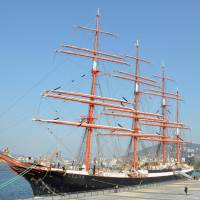 World's biggest tall ship docks in Nagasaki