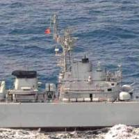 Targeting: The Chinese frigate Jiangwei II is seen Jan. 30 in the East China Sea at the time the Defense Ministry claims that the ship's weapons control radar locked onto the Maritime Self-Defense Force destroyer Yudachi. | DEFENSE MINISTRY/KYODO