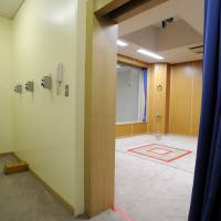 Death's door: Several buttons — one of which opens the gallows' trapdoor (right), executing condemned prisoners — are seen at the Tokyo Detention House in August 2010. | KYODO