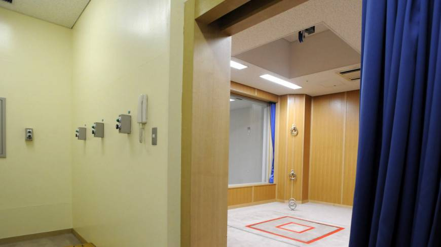 Death's door: Several buttons — one of which opens the gallows' trapdoor (right), executing condemned prisoners — are seen at the Tokyo Detention House in August 2010.