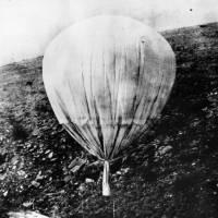 War effort: A balloon bomb sent from Japan is seen in the U.S. in July 1945. | AP