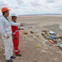 Andean perch: Japanese and Bolivian officials involved in the extraction of lithium from the Uyuni salt flats inspect the facilities built for the project high up in the Andes on Feb. 3. | KYODO