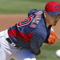 First taste: Daisuke Matsuzaka pitches in his first spring training appearance for the Cleveland Indians against the Cincinnati Reds on Sunday. | KYODO
