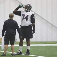 Inspirational: Baltimore Ravens tackle Michael Oher, whose life story was featured in the motion picture 'The Blind Side,' will start Sunday for the Baltimore Ravens in Super Bowl XLVII against the San Francisco 49ers in New Orleans. | AP
