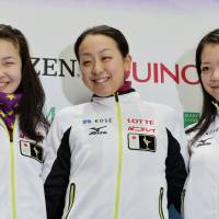 Key contenders: Mao Asada (center), Akiko Suzuki (right) and Kanako Murakami will represent Japan at the Four Continents Figure Skating Championships this weekend in Osaka. | KYODO