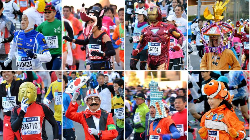 COS-RUNNING: Costumed runners take part in the Tokyo Marathon on Sunday. Around 36,000 people entered the event, which Kenyan Dennis Kimetto won in record time.