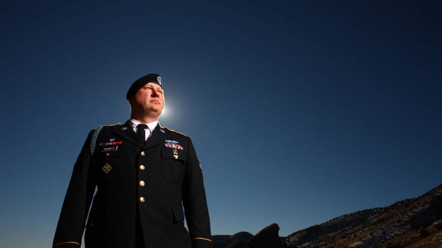 Video warrior: Army Pfc. Ted Daniels poses for a photograph in Red Rocks Park outside of Morrison, Colorado, on Jan. 3.