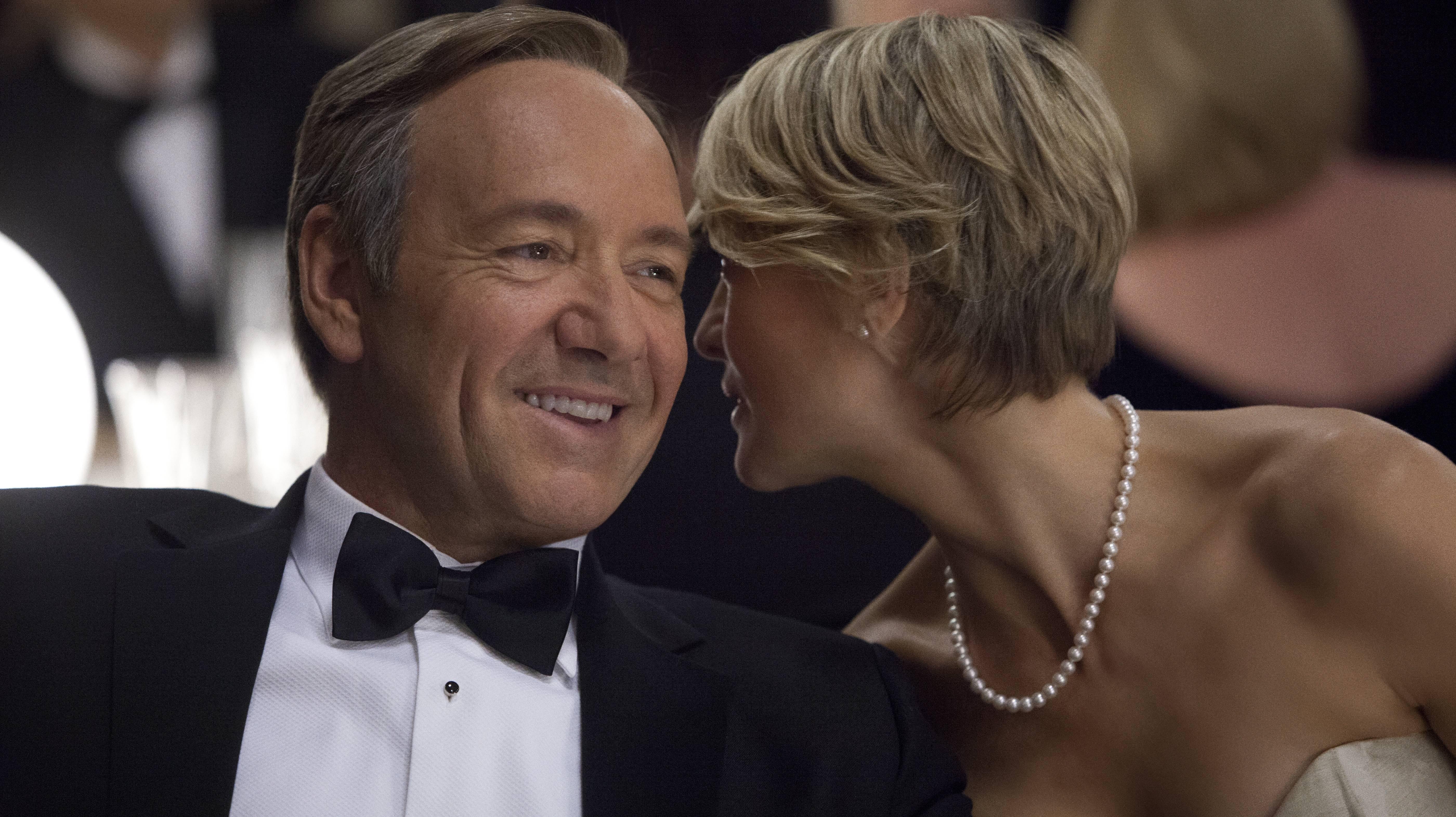 Streaming wild: Kevin Spacey and Robin Wright play U.S. Rep. Frank Underwood and his wife, Claire, in this scene from the Netflix original series 'House of Cards.' | AP