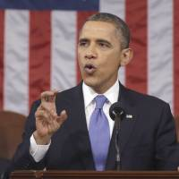 Orator in chief: U.S. President Barack Obama delivers his State of the Union address in  Washington on  Tuesday. | AP