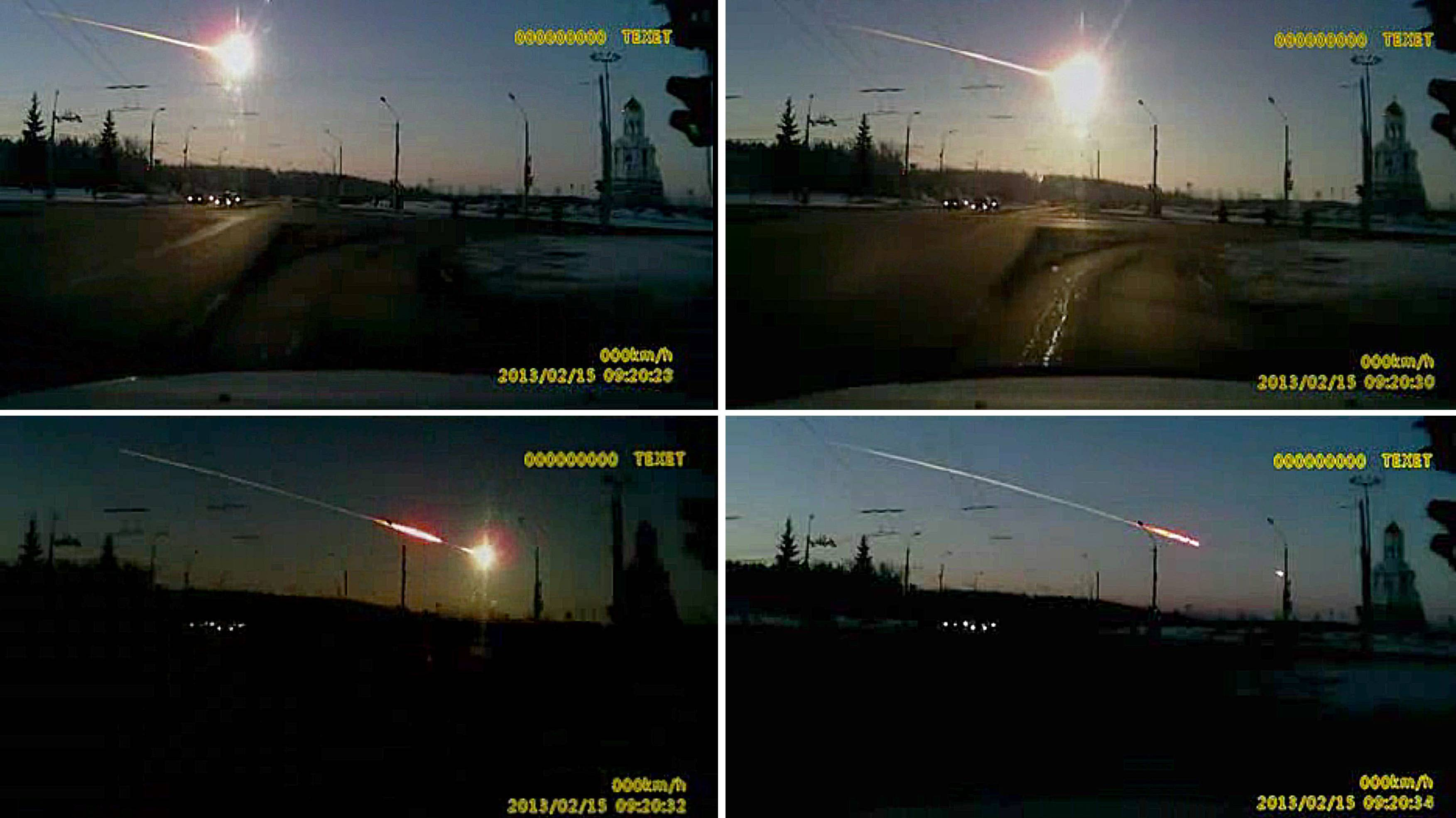 Stop light: A meteor streaks through the sky over Chelyabinsk, Russia, on Friday in images made from a dashboard video camera. | AP