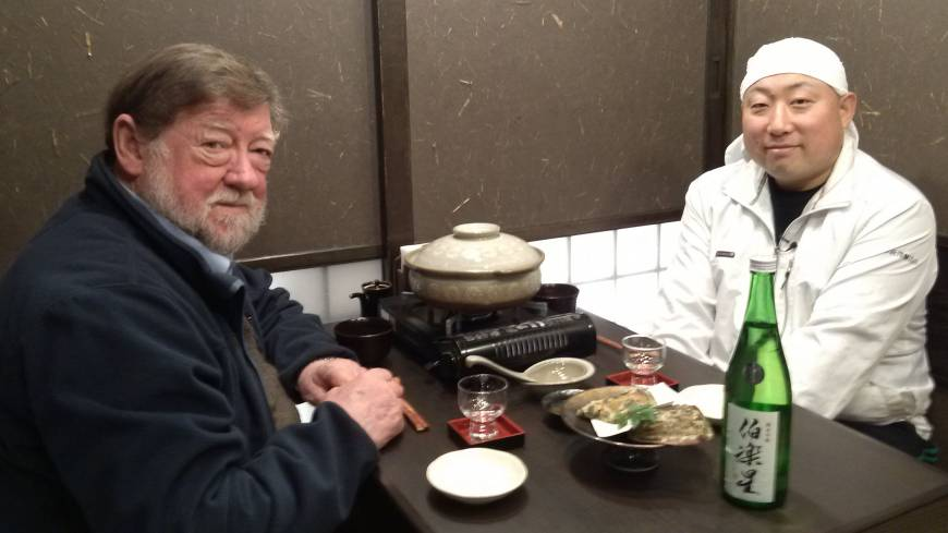 Dining with Iwao Niizawa,  President of the brewery that bears his family name.