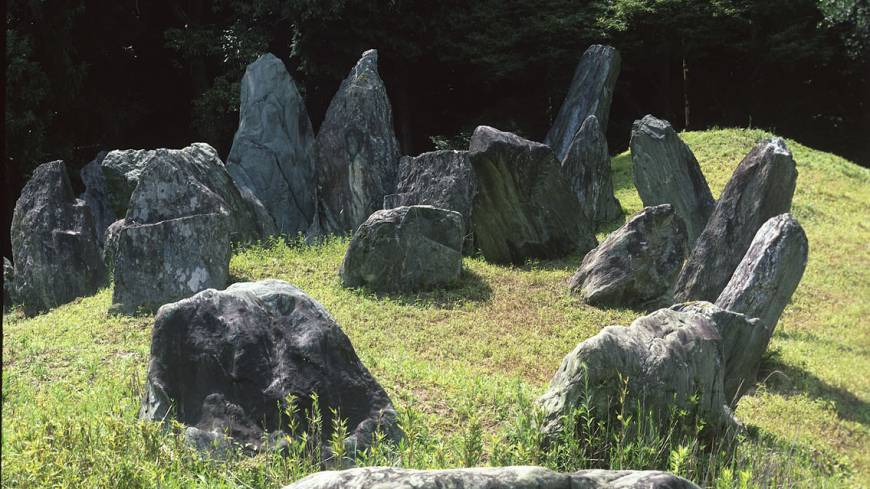 A powerful ensemble of rocks in the Garden of Ancient Times creates a primordial, pre-Shinto scene.